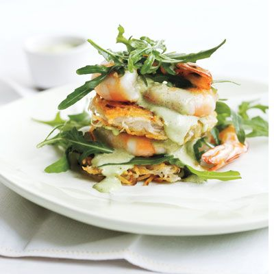 """<p>These potato fritters are the perfect starter. Drizzled with a mint aioli and topped with prawns and fresh arugula, they will be the star of your next dinner party.</p> <p><strong>Recipe:</strong> <a href=""""../.././recipefinder/rosti-stacks-prawns-mint-aioli-recipe-del0312"""" target=""""_blank""""><strong>Rösti Stacks with Prawns and Mint Aïoli</strong></a></p>"""