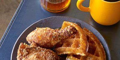 """<p>The savory flavors of buttermilk fried chicken perfectly complements the sweetness of cornmeal waffles with apple cider syrup.</p> <p><strong>Recipe:</strong> <a href=""""../../../recipefinder/veggie-fried-rice-recipe-122414"""" target=""""_blank""""><strong>Buttermilk Fried Chicken</strong></a></p> <p> <a href=""""../../../recipefinder/cornmeal-waffles-apple-cider-syrup-recipe-opr0612"""" target=""""_blank""""><strong> and Cornmeal Waffles with Apple Cider Syrup</strong></a></p>"""
