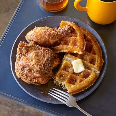 "<p>The savory flavors of buttermilk fried chicken perfectly complements the sweetness of cornmeal waffles with apple cider syrup.</p> <p><strong>Recipe:</strong> <a href=""../../../recipefinder/veggie-fried-rice-recipe-122414"" target=""_blank""><strong>Buttermilk Fried Chicken</strong></a></p> <p> <a href=""../../../recipefinder/cornmeal-waffles-apple-cider-syrup-recipe-opr0612"" target=""_blank""><strong> and Cornmeal Waffles with Apple Cider Syrup</strong></a></p>"