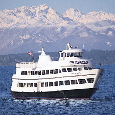 "<p>Want to see the Space Needle? How about from a boat? Still as good! On the Royal Argosy Dinner Cruise you can enjoy the views of Seattle, Washington, and picturesque Elliot Bay while feasting on a northwestern-inspired buffet. The house band serenades you and your company as you savor whatever you like from their extensive Dinner menu. Artisan cheese platter? Pretzel Crusted Dungeness Crab Cakes? Velvety Mac n' Cheese? You got. Fill up your plate and watch the Seattle go by with your sea legs on!</p><p>Argosy Cruises; <a href=""http://www.argosycruises.com/royalargosy/dinner.cfm"" target=""_blank"">argosycruises.com</a></p>"