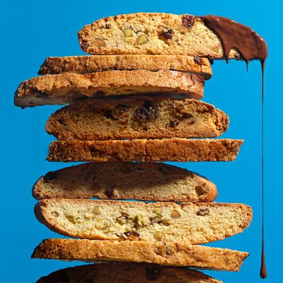 <p>The owner of San Francisco's farm-to-table grocery store Bi-Rite, Sam Mogannam knows a thing or two about buying the best ingredients. In his cookbook, Bi-Rite Market's Eat Good Food, he shares his insider knowledge and gives terrific recipes for what to do with the bounty — like dipping these biscotti in top quality chocolate.</p>