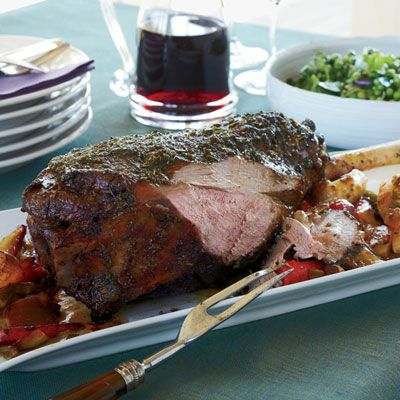 "<p>This leg of lamb is perfectly juicy in the center, with a fantastic crust. The recipe is so easy that it's ideal for a dinner party, as well as for Easter.</p><p><b>Recipe: </b><a href=""/recipefinder/garlic-herb-crusted-leg-lamb-recipe-fw0412"" target=""_blank""><b>Garlic-and-Herb-Crusted Leg of Lamb</b></a></p>"