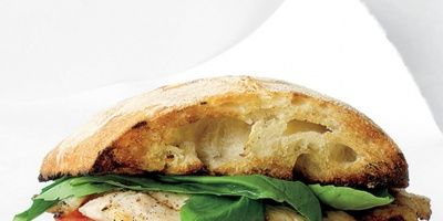 """<p>This sandwich combines a grilled turkey cutlet and the makings of an Italian Caprese salad in a rustic ciabatta roll.</p> <p><b>Recipe:</b> <a href=""""recipefinder/turkey-caprese-sandwich-recipe-mslo0712""""><b>Turkey Caprese Sandwich</b></a></p>"""