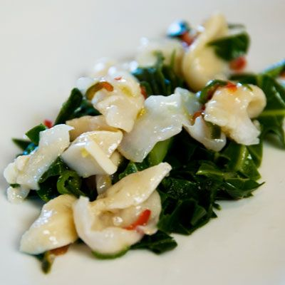"<p>Chef Donald Link tosses blanched geoduck clam with a light dressing of olive oil, lemon juice, sweet chili, and freshly torn mint.</p><p><b>Recipe:</b> <a href=""/recipefinder/geoduck-clam-recipe-top0811"" target=""_blank""><b>Geoduck Clam Salad</b></a></p>"