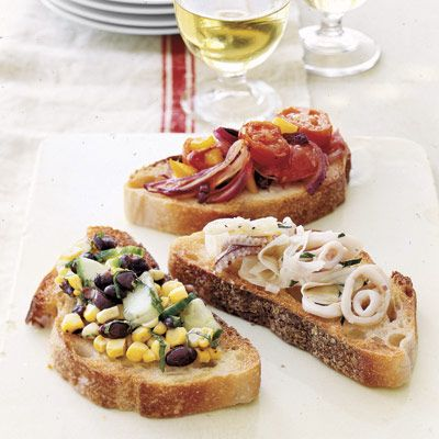 Tomatoes and olives combine for a tasty variation on bruschetta!