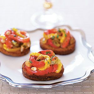 "<p>Beautiful red and yellow roasted bell peppers take the place of tomatoes in this twist on brus</p> <p><strong>Recipe:</strong> <a href=""../../../recipefinder/pepper-bruschetta-recipe-122533"" target=""_blank""><strong>Pepper Bruschetta</strong></a></p>"