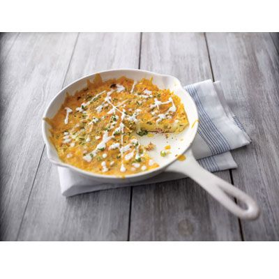 """<p>Loaded with green peppers, ham, and cheese, this skillet egg dish is appropriate for brunch, lunch, or dinner. Serve with an easy green salad and rolls to accompany.</p><p><b>Recipe:</b> <a href=""""/recipefinder/country-frittata-recipe-kft0311""""><b>Country Frittata</b></a></p>"""