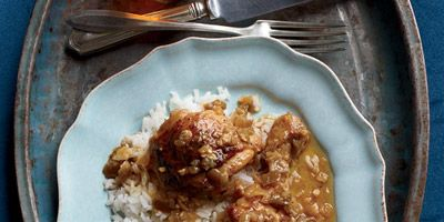 """<p>One of Mariano Guas's favorite Cuban food memories is enjoying a platter of chicken in a sweet, tangy glaze with his family. After tasting the dish on their visit, his son David worked to re-create the flavors in this recipe.</p><p><b>Recipe: </b><a href=""""/recipefinder/chicken-pineapple-sauce-recipe-fw1112"""" target=""""_blank""""><b>Chicken in Pineapple Sauce</b></a></p>"""