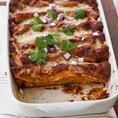 "<p>Make a slightly spicy red sauce for these chicken enchiladas with smoky guajillo chiles and fruity ancho chiles.</p><p><b>Recipe: </b><a href=""http://www.delish.com/recipefinder/red-chile-chicken-enchiladas-recipe-fw0710"" target=""_blank""><b>Red Chile-Chicken Enchiladas</b></a></p>"