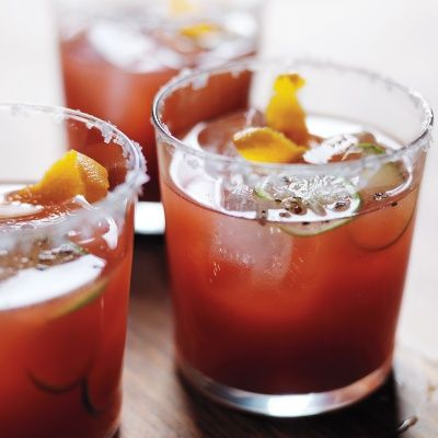 """<p>A Bloody Mary becomes a Bloody Maria when you swap tequila in for vodka. Our twist here is cutting the tomato juice with crimson blood-orange juice. It turns what normally feels like a meal in a glass into a brighter, more refreshing quaff.</p> <p><strong>Recipe:</strong> <a href=""""http://www.delish.com/recipefinder/bloody-orange-maria-recipe-mslo1013""""><strong>Bloody Orange Maria</strong></a></p>"""