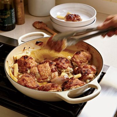 <p>In this easy one-pot braise, you get the best possible combination: crisp-skinned chicken and a luscious wine sauce.</p>