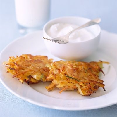 """<p>Fried in oil in recognition of the ancient lamps that held only enough oil for one day but miraculously burned for eight, latkes, or potato pancakes, are a traditional Hanukkah dish.</p><p><br/><strong>Recipe:</strong> <a href=""""../../../recipefinder/vegetable-latkes-recipe-mslo1212"""" target=""""_blank""""><strong>Vegetable Latkes</strong></a></p>"""