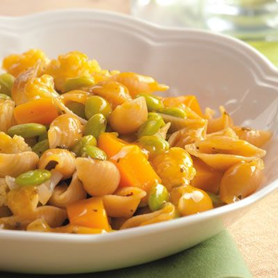 """<p>In this vegetable-studded vegan dish we braise cauliflower, butternut squash, and pasta in white wine and broth in an unconventional technique that yields delicious results. Serve with a spinach salad with red onion, orange segments, and a light vinaigrette.</p><p><b>Recipe: <a href=""""/recipefinder/braised-winter-vegetable-pasta-recipe-ew1210"""">Braised Winter Vegetable Pasta</a></b></p>"""