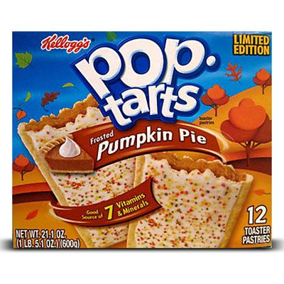 Now here's something we can sink our teeth into! Kellogg's Pop-Tarts has released its latest limited-edition flavor: Frosted Pumpkin Pie, available through mid-December. The baked breakfast pastry is filled with a sweet mixture of pumpkin pie, nutmeg, cinnamon and clove, and finished with iced frosting and autumn-colored sprinkles.