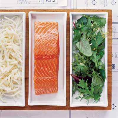 """<p>Preshredded potatoes, sold in plastic bags in the supermarket frozen-food department, usually end up as hash browns. This recipe suggests an entirely new use for them: seared onto fat fillets of salmon to form a fantastic crisp crust.</p><p><strong>Recipe:</strong> <a href=""""../../../recipefinder/potato-crusted-salmon-herb-salad-recipe-7676"""" target=""""_blank""""><strong>Potato-Crusted Salmon with Herb Salad</strong></a></p>"""