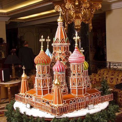 <p>This gingerbread masterpiece showcases Moscow's St. Basil's Cathedral. It was created by pastry chef Troman Felizmenio in 2009. After nearly three months of work, Felizmenio completed the six-and-a-half-foot-high structure, which was featured in the lobby of The Ritz-Carlton in Moscow.</p>