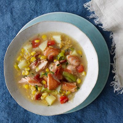 """<p>For a quicker, heartier version of classic corn chowder, start with canned cream corn and garnish with tender salmon pieces.</p><br /><p><b>Recipe:</b> <a href=""""/recipefinder/salmon-creamed-corn-chowder-recipe-opr0112""""><b>Salmon and Creamed Corn Chowder</b></a></p>"""