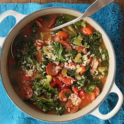 """<p>A New Orleans favorite, spicy andouille sausage gives this healthy greens-and-rice stew a kick of Cajun flavor.</p><br /><p><b>Recipe:</b> <a href=""""/recipefinder/cajun-kale-soup-andouille-sausage-recipe-opr0112""""><b>Cajun Kale Soup with Andouille Sausage</b></a></p>"""