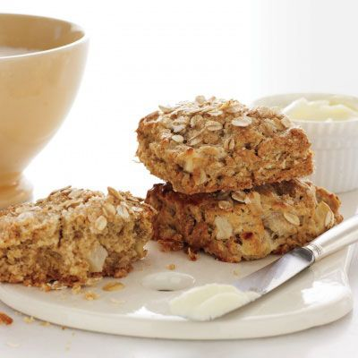 "<p>These scones are light yet hearty and the most healthful of the bunch. Fresh apple keeps them moist, buttermilk contributes tenderness, and oats add a pleasantly toothsome texture.</p> <p><strong>Recipe:</strong> <a href=""http://www.delish.com/recipefinder/apple-oat-scones-cinnamon-nutmeg-recipe-mslo0213"" target=""_blank""><strong>Apple and Oat Scones with Cinnamon and Nutmeg</strong></a></p>"