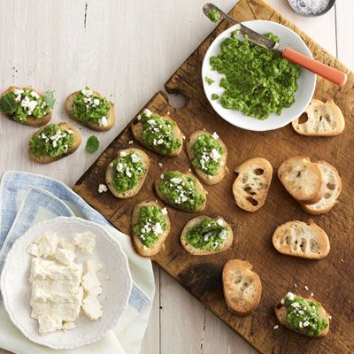 <p>Smooth ground peas, mint, and feta cheese create a simple, flavorful topping for crostini.</p>