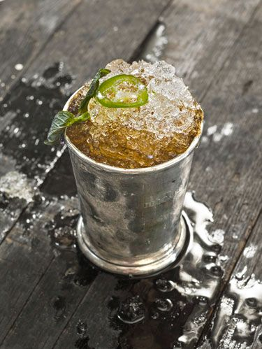 <p>Just in time for the Kentucky Derby, Lee rouses the state's classic cocktail with a homemade jalapeño simple syrup.</p>