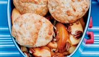 """<p>Unlike most people who make cobblers, Bobby Flay opts to bake the biscuits separately from the fruit so the undersides cook fully. Try his recipe.</p> <p><strong>Recipe:</strong> <a href=""""http://www.delish.com/recipefinder/buttermilk-biscuit-peach-cobbler-recipe"""" target=""""_blank""""><strong>Buttermilk-Biscuit Peach Cobbler</strong></a></p>"""