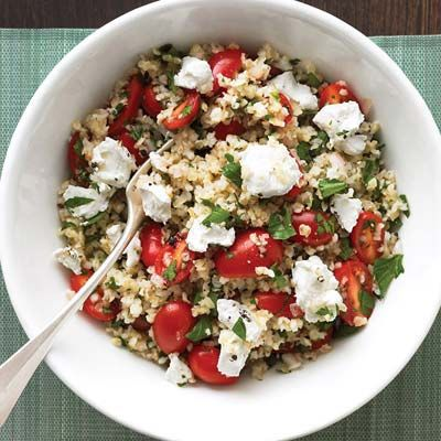 "<p>Enjoy this satisfying vegetarian main: a generous bulgur salad with crumbled goat cheese and juicy tomatoes. </p><p><b>Recipe:</b> <a href=""http://www.delish.com/recipefinder/mediterranean-grain-salad-recipe-mslo0211"" target=""_blank""><b>Mediterranean Grain Salad</b></a></p>"