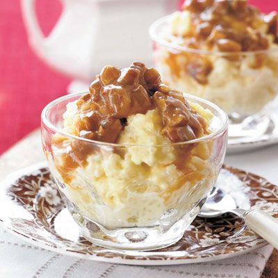 """<p>If you are a fan of pure and simple old-fashioned desserts, this dish is for you. The praline sauce takes it to the next level.</p> <p><strong>Recipe:</strong> <a href=""""../../../recipefinder/rice-pudding-praline-sauce-recipe-sl0510"""" target=""""_blank""""><strong>Creamy Rice Pudding with Praline Sauce</strong></a></p>"""