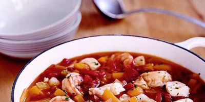 """<p>This simple seafood stew is laden with fresh shrimp and cod, and features a savory tomato broth spiced up with Cajun seasoning.</p> <p><strong>Recipe:</strong> <a href=""""../../../recipefinder/fishermans-stew-2651"""" target=""""_blank""""><strong>Fisherman's Stew</strong></a></p>"""
