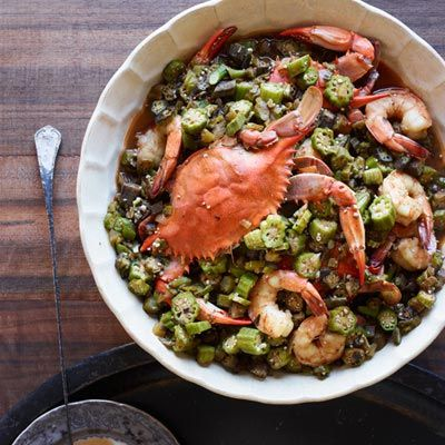 In this recipe from The Dooky Chase Cookbook, chef Leah Chase uses okra (and lots of it) to thicken the dish.