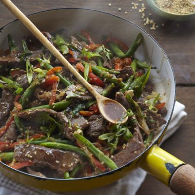 "<p>""This stir-fry is Cantonese comfort food, with familiar flavors and ingredients put together in a delicious way that takes just a few minutes to cook. I usually call everyone to the table as I'm heating the pan, and by the time they all sit down, I'm ready to dish up dinner."" — Curtis Stone</p> <p><strong>Recipe:</strong> <a href=""http://www.delish.com/recipefinder/ steak-green-bean-stir-fry-ginger-garlic-recipe-del0513"" target=""_blank""><strong>Steak and Green Bean Stir-Fry with Ginger and Garlic</strong></a></p>"