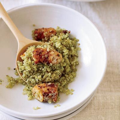 """Here the the shrimp is coated with a potent mix of fennel seeds, dried oregano, and garlic and onion powders. The quinoa is flavored with a vibrant, pesto-like pistou, made with a judicious amount of oil.<br /><br /><b>Recipe:</b> <a href=""""http://www.delish.com/recipefinder/quinoa-spice-roasted-shrimp-pistou-recipe-fw0910"""" target=""""_blank""""><b>Quinoa with Spice-Roasted Shrimp and Pistou</b></a>"""
