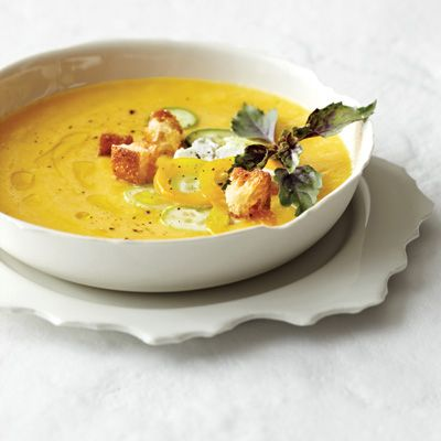 "<p>Chef Jason Franey of Seattle's Canlis makes this sweet and tangy summer soup by marinating fresh peaches overnight with dried apricots, honey, vinegar, and olive oil and then puréeing the mixture. Since peaches can vary in flavor, Franey suggests seasoning with vinegar to taste as you purée.</p><p><b>Recipe:</b> <a href=""http://www.delish.com/recipefinder/chilled-peach-soup-fresh-goat-cheese-recipe-fw0711"" target=""_blank""><b>Chilled Peach Soup with Fresh Goat Cheese</b></a></p>"