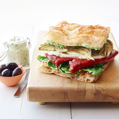 """<p>This no-cook veggie focaccia works well as both an appetizer or a light lunch sandwich.</p><p><strong>Recipe:</strong> <a href=""""../../../recipefinder/veggie-focaccia-recipe-ghk0812"""" target=""""_blank""""><strong>Veggie Focaccia</strong></a></p>"""