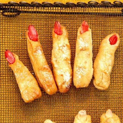 These lifelike pretzel fingers are worth the effort. Not only are they tender and savory with a hint of rosemary, they are also ghoulishly good at scaring Halloween-party guests.