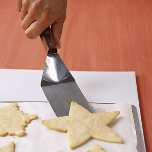 lining cookie sheets with parchment paper or nonstick baking mats eliminates the need for greasing