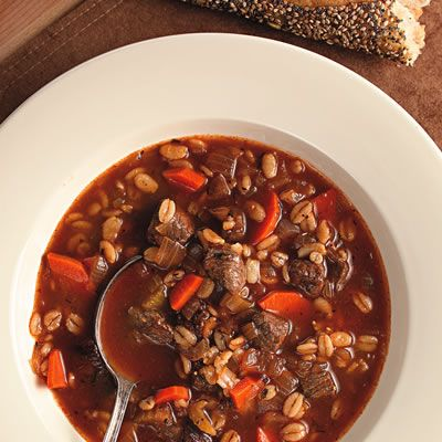 "<p>Quick-cooking barley and sirloin help get this beef-and-barley soup on the table in a snap — and it doubles easily. If leftovers get too thick in the fridge, add a little broth when you reheat it. Serve with crusty bread and a glass of malbec.</p><p><b>Recipe:</b> <a href=""/recipefinder/quick-beef-barley-soup-recipe-ew0211"" target=""_blank""><b>Quick Beef and Barley Soup</b></a></p>"