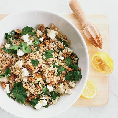 "<p>Barley is versatile enough to be served warm or at room temperature, as in this terrific salad with walnuts, parsley and salty bits of ricotta salata cheese in a lemon-garlic vinaigrette. It can be served as a main course or as a side for grilled chicken or pork.</p><p><b>Recipe:</b> <a href=""/recipefinder/barley-salad-parsley-walnuts-recipes"" target=""_blank""><b>Barley Salad with Parsley and Walnuts</b></a></p>"