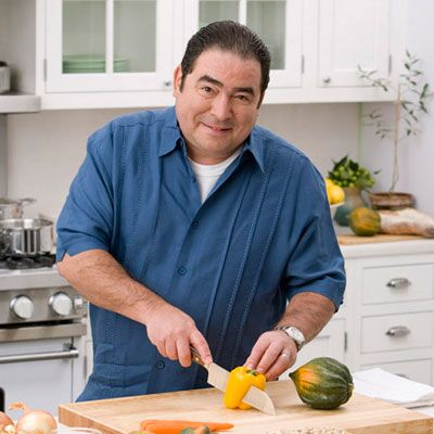 """<p><b>What's Emeril Lagasse's go-to stuffing?</b> The larger-than-life chef sticks to his southern sensibility by making spoonbread, which is more of a savory bread pudding. He explains, """"Not much needs to be added to this luscious, moist spoonbread — it is delicious simply with green onions and cheese as an accent. But your imagination can run wild without much risk.""""</p>  <p><b>Any special tips?</b> """"Add an abundant herb or another of your favorite ingredients.""""</p>  <p><b>Give Emeril's recipe a try:</b> <a href=""""/recipefinder/emeril-lagasse-green-onion-spoonbread-recipe-del1112""""><b>Emeril's Green Onion Spoonbread</b></a></p>"""