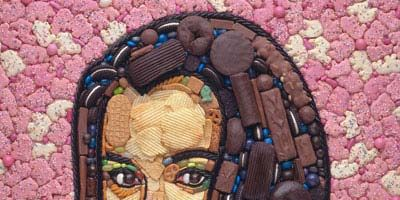 """<p><b>Artist:</b> <a href=""""http://www.jasonmecier.com/"""" target=""""_blank""""><b>Jason Mecier</b></a></p><br />  You won't find a paintbrush in Jason Mecier's studio. The mosaic portrait artist's representations of famous faces — including Rosie O'Donnell (at left), <a href=""""http://jasonmecier.com/frachray.html"""" target=""""_blank""""><b>Rachael Ray</b></a>, and <a href=""""http://jasonmecier.com/fjerry.html"""" target=""""_blank""""><b>Jerry Seinfeld</b></a> — are made out of candy, potato chips, cookies, and other edible goodies."""