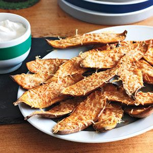 "<p>Instead of fat-laden potato skins stuffed with cheese and bacon, try these flavor-packed sweet potatoes that are dusted with Parmesan and cayenne pepper.</p><p><b>Recipe: </b><a href=""/recipefinder/spiced-pita-chips-recipe-122831"" target=""_blank""><b> Sweet Potato Skins</b></a></p>"
