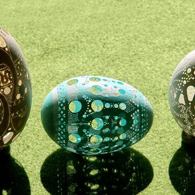 "It's obvious why Franc Grom is called the ""Egg Art Master."" Inspired by the spiral designs common in Slovenian art, he puts 2,500 to 3,500 holes into each egg he carves to create this fluid detail."