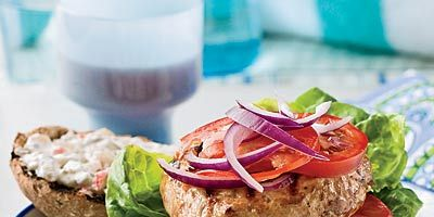 """<p>A spicy combination of pickled hot peppers and garlicky dill pickles adds heat and complexity to this cool, yogurt-based turkey burger topper.</p><br /><p><b>Recipe: <a href=""""/recipefinder/turkey-burgers-spicy-pickle-sauce-recipe"""" target=""""_blank"""">Turkey Burgers with Spicy Pickle Sauce</a></b></p>"""