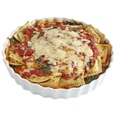 """<p>Rush-hour ravioli: It's the frozen food even foodies love because you can dress it up in rich, yummy sauces. Try this recipe for a cheesy baked version reminiscent of lasagna.</p><p><b>Recipe:</b> <a href=""""http://www.delish.com/recipefinder/cheesy-baked-ravioli-recipe-rbk1011"""" target=""""_blank""""><b>Cheesy Baked Ravioli</b></a></p>"""