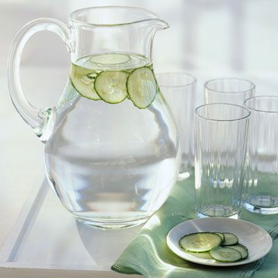 To flavor drinking water, add subtly aromatic slices of English cucumber (which are virtually seedless) instead of the usual lemon wedges. Float the thin rounds in a pitcher of chilled water. Garnish each glass with cucumber, too.
