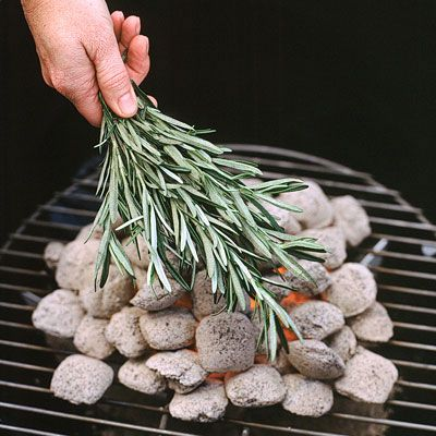 Instead of making a marinade with rosemary for grilling, place the herb right on the coals. The smoke enhances food in the same way burning wood chips does. Once the coals are uniformly gray and ashy, loosely cover them with fresh rosemary branches (be careful not to burn your hands). Almost any meat or vegetable will benefit from this savory smoking.