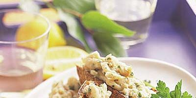 """This grilled bruschetta recipe features mashed cannellini beans and the bright flavors of fresh lemon and parsley. Everything can be easily prepared onsite, or mash up the bean mixture before you head out to the game.<br /><br /><b>Recipe: <a href=""""/recipefinder/lemon-white-bean-bruschetta-ghk"""" target=""""_blank"""">Lemony White-Bean Bruschetta</a></b>"""