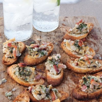 "<p>A fishmonger can shuck the clams for you; or, if you have a clam knife, you can do the job yourself.</p> <p><strong>Recipe:</strong> <a href=""../../../recipefinder/clams-casino-crostini-recipe-mslo041"" target=""_blank""><strong>Clams Casino Crostini</strong></a></p>"