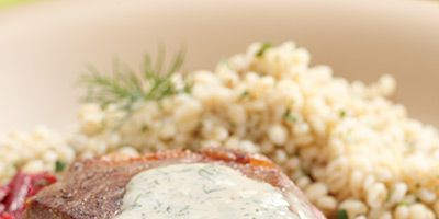 """<p>Contributed by Ruth Estfon of Palm Harbor, Florida, this salmon and spinach meal will be on the table in 10 minutes flat.</p> <p><strong>Recipe:</strong> <a href=""""http://www.delish.com/recipefinder/seared-strip-steaks-horseradish-root-vegetable-slaw-recipe-ew0311"""" target=""""_blank""""><strong>Seared Strip Steaks with Horseradish-Root Vegetable Slaw</strong></a></p>"""