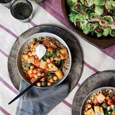 "<p>For Aida Mollenkamp, spiced Moroccan tagines are a dinner-party staple because they can be made in advance. ""In case something impromptu happens,"" she says, ""you're not stressed about the main dish.""</p><p><b>Recipe: </b><a href=""/recipefinder/root-vegetable-cauliflower-tagine-parsley-yogurt-recipe-fw1112"" target=""_blank""><b>Root Vegetable and Cauliflower Tagine with Parsley Yogurt</b></a></p>"